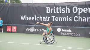 Lauren Jones playing at UK Wheelchair Tennis Tournament